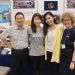 The three former exchange students Asuka Matsuda, Misa Takamizu and Toru Anraku shared experiences from their studies in Stockholm at the European Education Fair in Japan, here with Elisabet Idermark from Stockholm University.