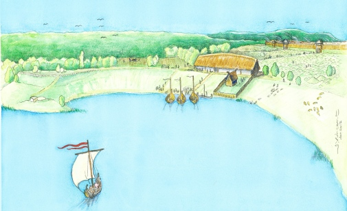 Illustration av den vikingatida stormannagården. Illustration: Jacques Vincent
