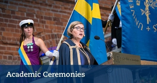 Vice-Chancellor Astrid Söderbergh Widding speaks in Stockholm City Hall