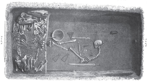 This is how the grave on Birka might have looked like where the female warrior was buried. Illustration by Evald Hansen based on the original plan of grave Bj 581 from Hjalmar Stolpe