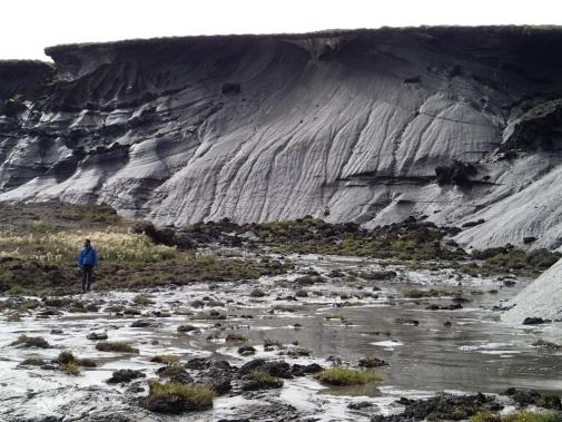 Tinande permafrost i arktiska Kanada (se personen i bilden för skala). Forskningsprojektet Nunataryuk kommer att studera klimatförändringarnas effekter på den arktiska kustmiljön.  Foto: Gustaf Hugelius.