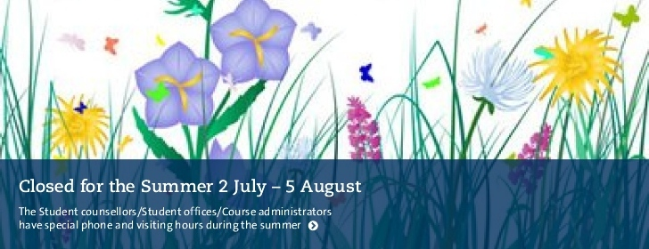 Summertime 2 July-5 August. Student counsellors have spec. hours. Ill. se.clipartlogo.com