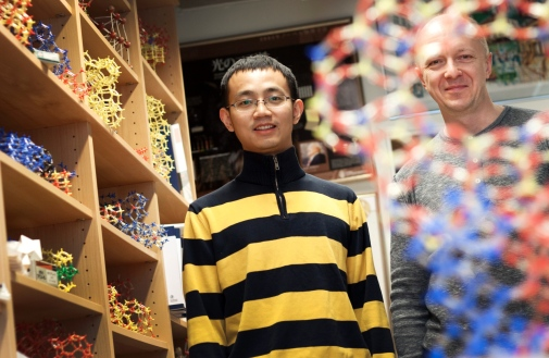 "Yanhang Ma and Peter Oleynikov have many molecular models at their office, but not yet one of the new material. ""It is so complex that it would take a very long time to make it"", says Peter Oleynikov."