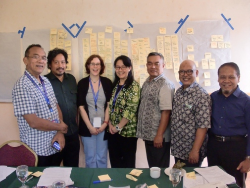 The workshop on land-use change hosted by Stockholm University identified knowledge gaps, from left to right Mr. Nyoman Suryadiputra, Wetlands International Indonesia, Mr. Oka Karyanto, Gadjah Mada University, Dr Sabine Henders, Linköping University, Dr Eny Buchary, Stockholm Resilience Centre, Stockholm University, Prof. Dr. Sulmin Gumiri, University of Palangka Raya, Prof. Dr. Ir. Gusti Z. Anshari, University of Tanjungpura, and Prof. Dr. Endi Setiadi Kartamihardja, Research Professor at Ministry of Marine Affairs and Fisheries of the Republic of Indonesia.
