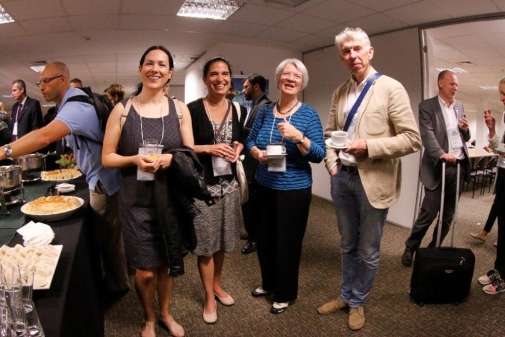 Coffee break for Thaïs Machado Borges, Laura Álvarez, Gunnel Forsberg and Arne Jarrick from Stockholm University.