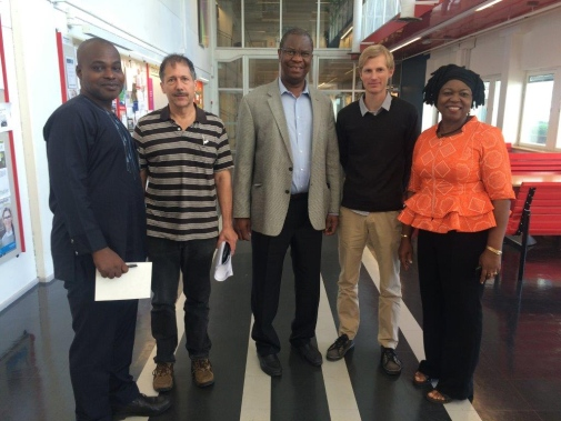 ​The University of Nigeria delegation met with the Department of Political Science, left to right Kenneth Ofokanzi, Bemjamin Ozumba, Henrik Angerbrandt, Merrick Tabor and Joy Ezeilo.