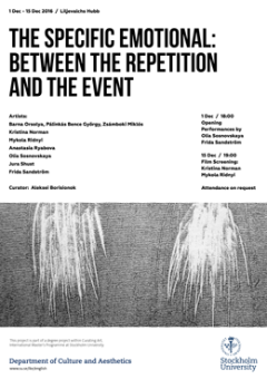 "Poster for ""The Specific Emotional: Between the Repetition and the Event"""
