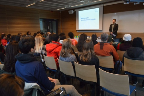 Vice President Clas Hättestrand welcoming the NSHSS students to Stockholm University