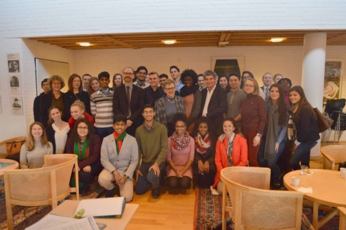 Group picture after the mingle with Stockholm University professors in the Nobel committees