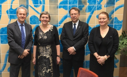 Ambassador Magnus Robach, Vice Chancellor Astrid Söderbergh Widding, Deputy Vice-Chancellor Anders Karlhede and Head of International Affairs Maria Wikse