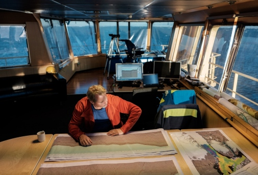 Martin Jakobsson on the icebreaker Oden on a previous research expedition. Photo: Björn Eriksson