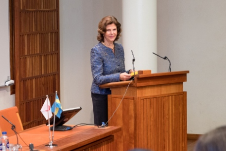 Queen Silvia at the workshop in Nobel Forum. Photo: Yanan Li