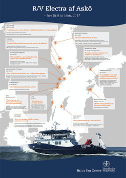 Map describing the research vessel's different expeditions and sampling sites during 2017