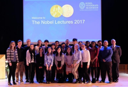 Students at the Nobel Lectures in Aula Magna at Stockholm University