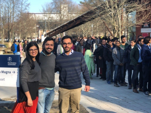 Line of Indian residents in Sweden queuing for the event