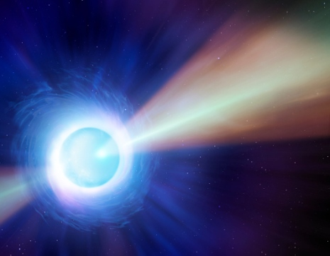 Artist's impression of jets of material from first confirmed neutron star merger.