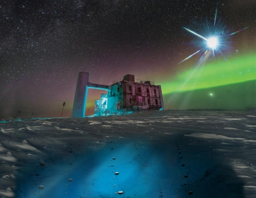 In this artistic rendering, based on a real image of the IceCube Lab at the South Pole, a distant source emits neutrinos that are detected below the ice by IceCube sensors, called DOMs. Credit: Icecube/NSF.