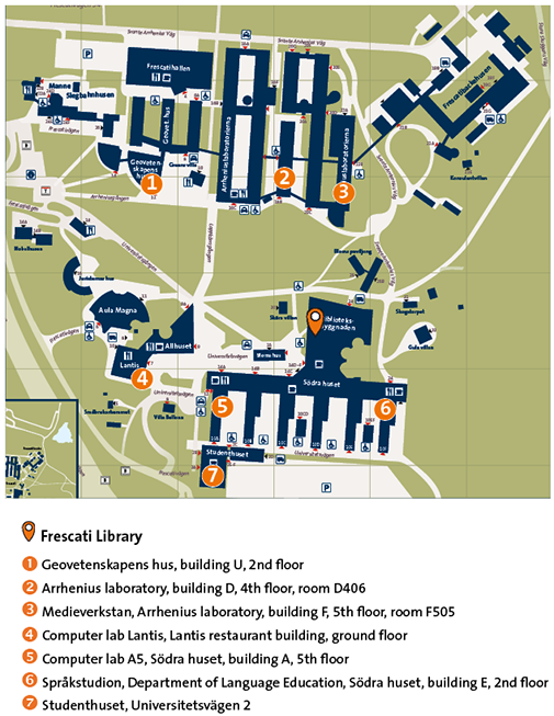 Map of printomats on campus Frescati