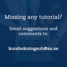 Image of hands pointing at a computer. Text: email suggestions to kursbokningsub@su.se