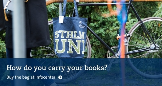 How do you carry your books? Bike with a SU bag on the handlebars. Photo: Niklas Björling