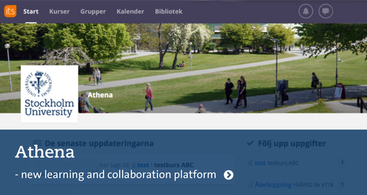 Athena: Information and log in. Picture of the startpage for Athena