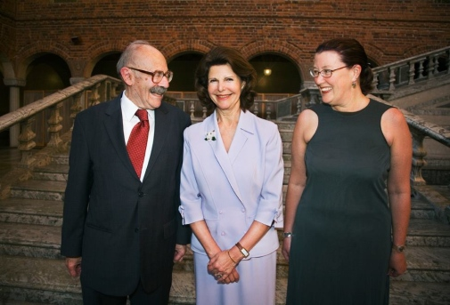 Prize winners 2007 Alfred Blumstein and Terrie E. Moffit, with HM Queen Silvia.