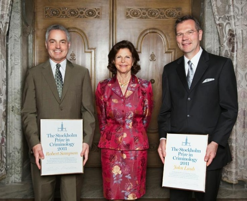 Prize recipients 2011 Robert J. Sampson and John H. Laub, with HM Queen Silvia.