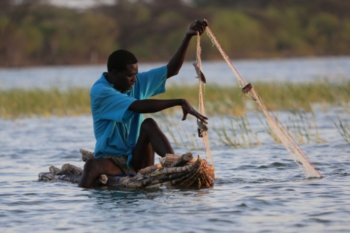 A fishing man in Bogoria lake