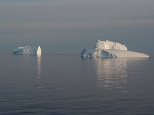 Icebergs in the midnight sun, Thule Greenland.