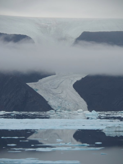 Glacier on Wolf Land flowing into Sherard Osborn Fjord. Photo by Johan Nilsson