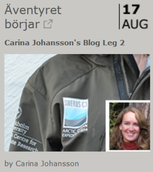 Carina Johansson SWERUS blog entry with name and photo