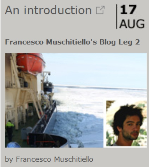 Francesco Muschitiello SWERUS blog entry with name and photo