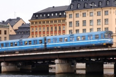 Stockholm underground train on its way past Slussen