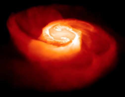 Computer simulation of a merger of two stars