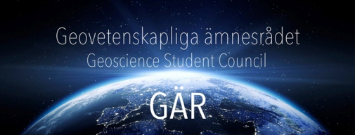 half of the Earth with star sky and the text Geovetenskapliga ämnesrådet, Geoscience Student council