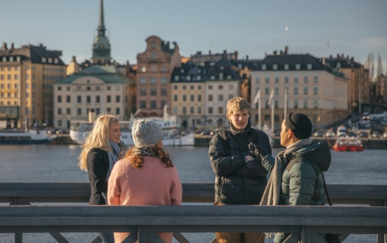 Students on a bridge in central Stockholm. Photo: Niklas Björling