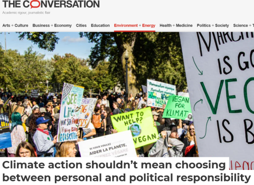 Article about climate action in The Conversation.