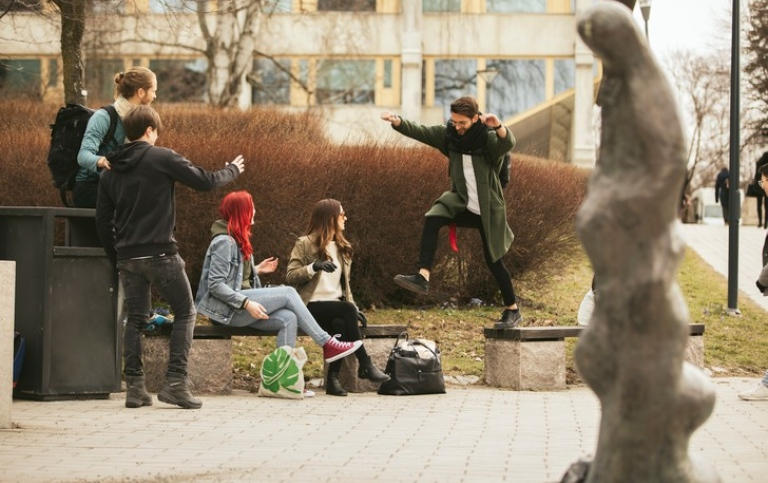 Students playing around on campus. Photo: Niklas Björling
