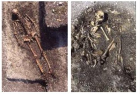 Two burials at the Pittd Ware Culture Ajvide on Gotland. Left, a male in burial 54 placed on his bac
