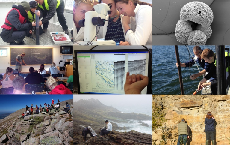 collage with students doing field work at the Department of geological sciences, SU.