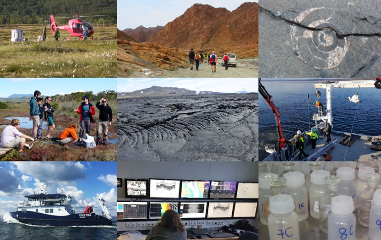collage of students during field work at the Department of Geological Sciences, SU