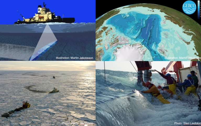 collage with icebreakers and a world map