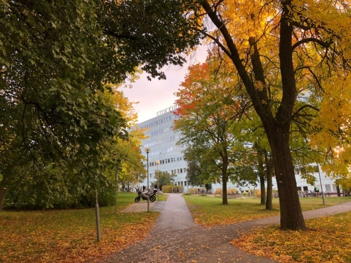 Stockholm University main campus in fall