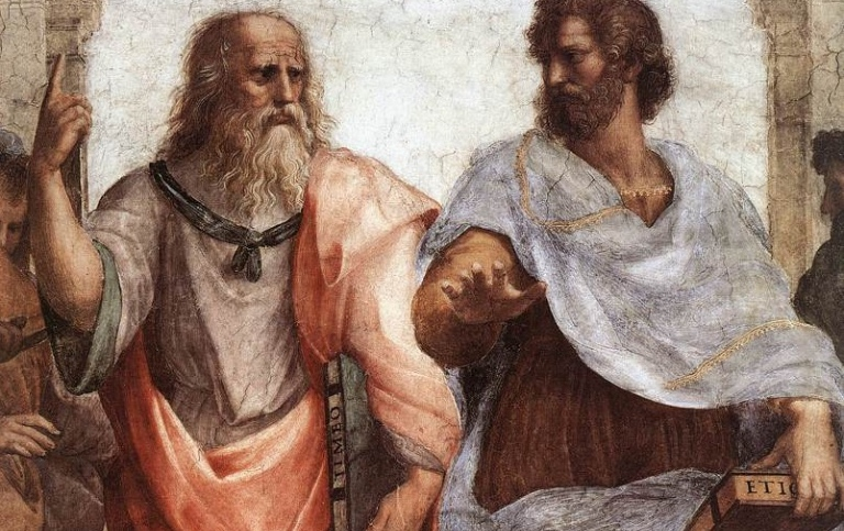 Painting of Plato and Aristotle discussing the ideal and the material