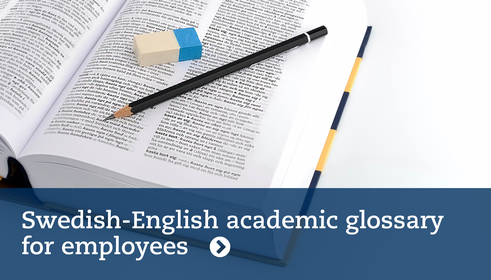 Swedish-English academic glossary for employees. Mostphotos