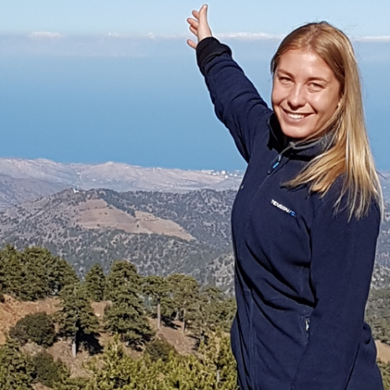Charlotte on a top of a mountain in Cyprus
