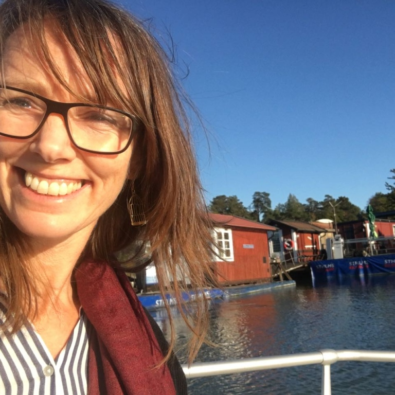 Hellen takes a selfi on a private boat, Stockholm