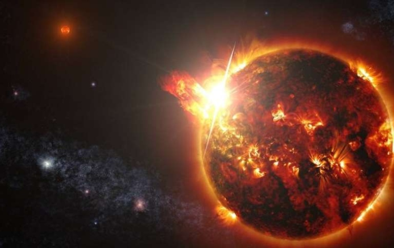 Artists rendition of a powerful flare. / NASA's Goddard Space Flight Center/S. Wiessinger