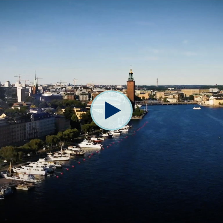 Aerial view over Stockholm.
