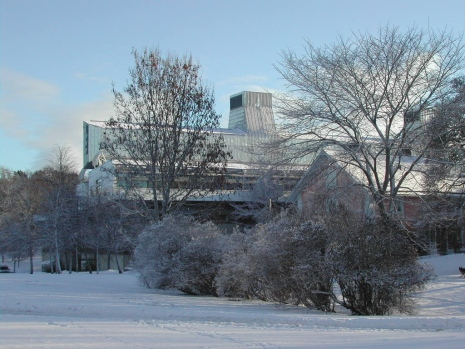 The Frescati Library from the outside in winter landscape